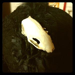 Gothic Headband w/ real mink skull Halloween OOAK